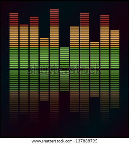 Audio level LED from Music Studio with reflection Vector. Color scale equalizer Vector. Music decibel Vector. - stock vector