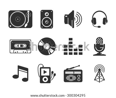 Audio media icons set - stock vector