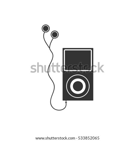 Audio player icon flat. Illustration isolated on white background. Vector grey sign symbol