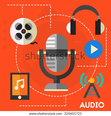 Audio production and podcast concept - stock vector
