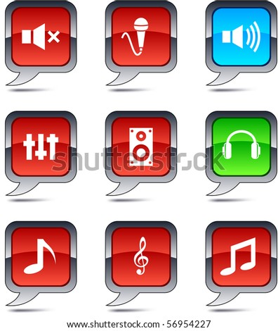 Audio set of square balloon icons.