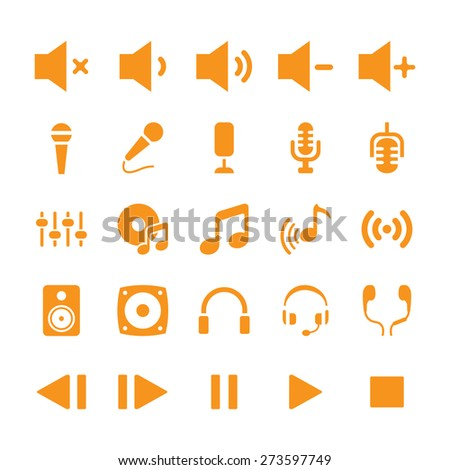 Audio sound symbol icon set for music - stock vector