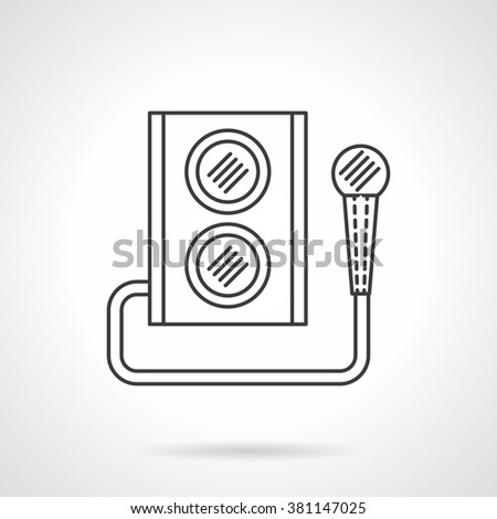 Audio speaker subwoofer music system. Microphone and subwoofer. Party and events equipment. Flat line style single vector icon. Element for web design, business, mobile app.  - stock vector