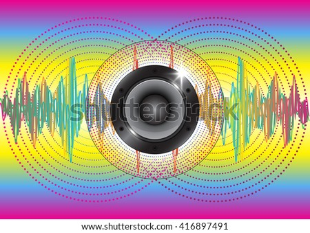 Audio speaker with colorful wave and  circle technology background - stock vector