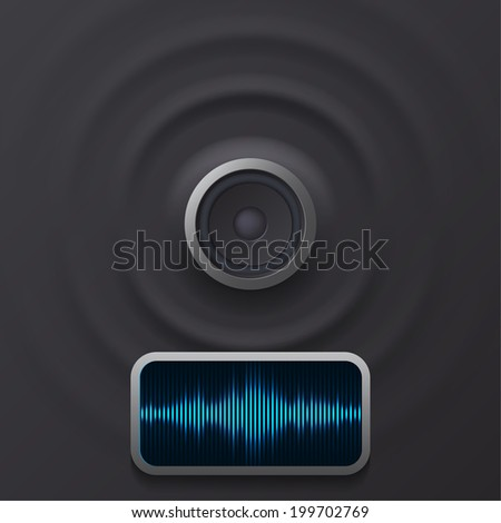 Audio speaker with equalizer - stock vector