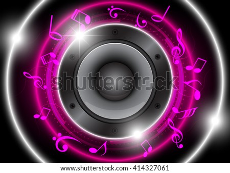 Audio speaker with pink circle and musical note technology background - stock vector