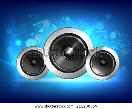 Audio speakers sub woofer system on blue music background concept vector illustration. - stock vector