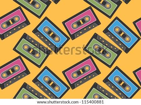 audio tape seamless background - stock vector