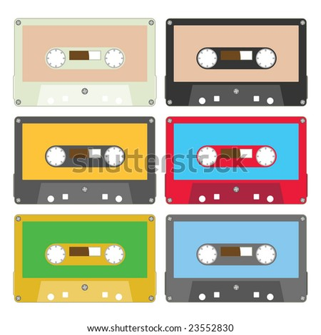 audio tape set of six vintage records - stock vector