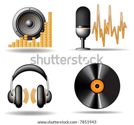 Audio vector icons - stock vector