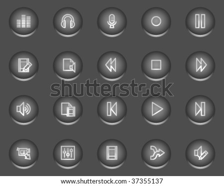 Audio video edit web icons, metal circle buttons series