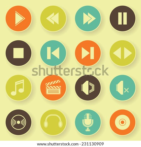 Audio video icons in bright colors. Vector buttons         - stock vector