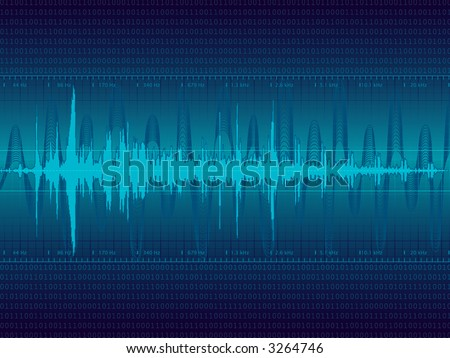 Audio Waveform vector background (only linear gradients) - stock vector