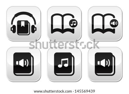 Audiobook vector buttons set - stock vector
