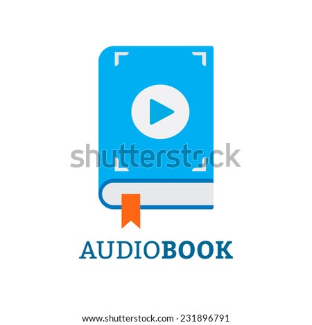 Audiobooks icon is blue in flat style - stock vector