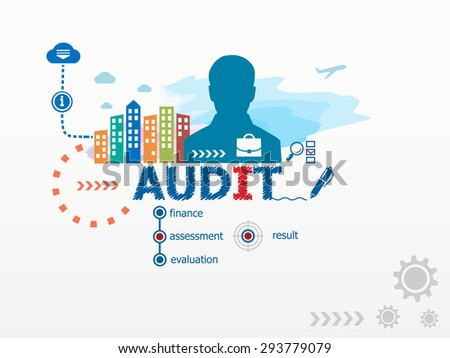 Audit concept and business man. Flat design illustration for business, consulting, finance, management, career. - stock vector