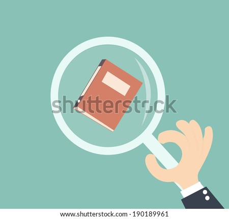 audit concept - hand businessman holding magnifying glass with file documents  - stock vector