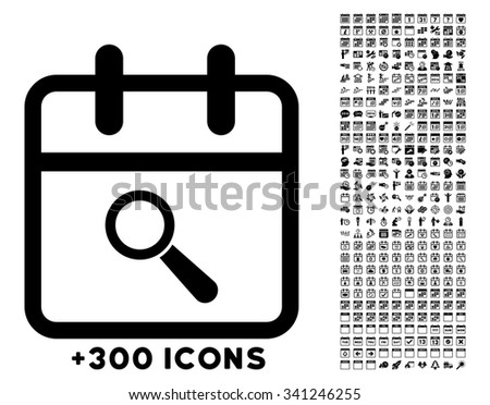 Audit Day vector icon with additional 300 date and time management pictograms. Style is flat symbols, black color, rounded angles, white background. - stock vector