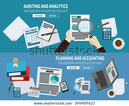 auditing plan account analyze. business concept. flat cute cartoon design illustration. isolated on blue background. - stock vector