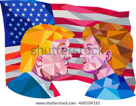 Aug 15, 2016: Illustration showing Republican Donald Trump versus Democrat Hillary Clinton face-off for American president with USA flag in background done in low polygon art style.