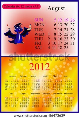 August. 2012 Calendar.Dark blue dragon-New Year's a symbol of 2012. A3 - stock vector