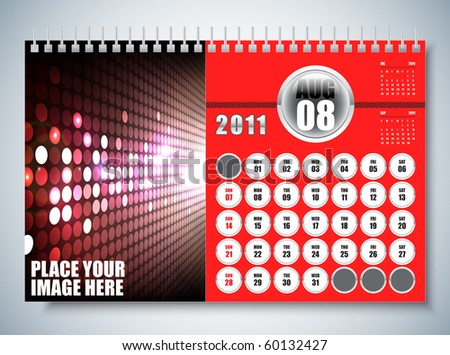 August - Calendar Design 2011 - stock vector