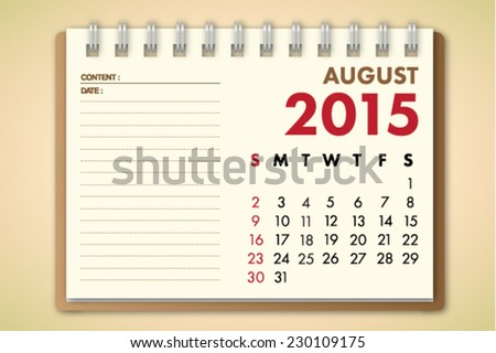 August 2015 Calendar Notebook Paper Vector  - stock vector
