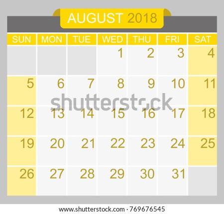 weekly calendar august 2018 zaxa tk