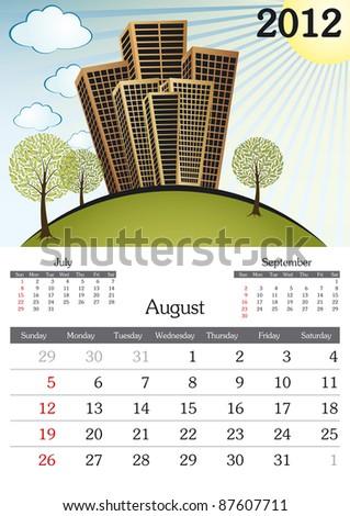 August. 2012 Calendar. Souvenir fonts used. A3 - stock vector