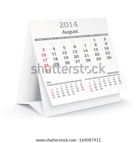 august 2014 - calendar - vector illustration