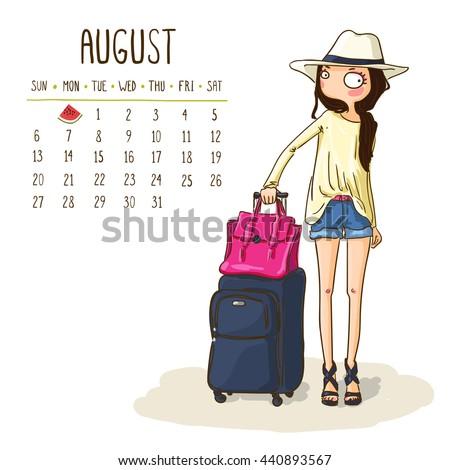 August 2017 Calendar Cute Girl Go Stock Vector 440893567   Shutterstock