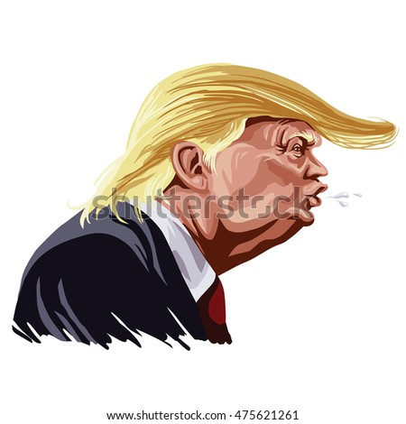 August 30, 2016: Donald Trump Shouting Cartoon Caricature