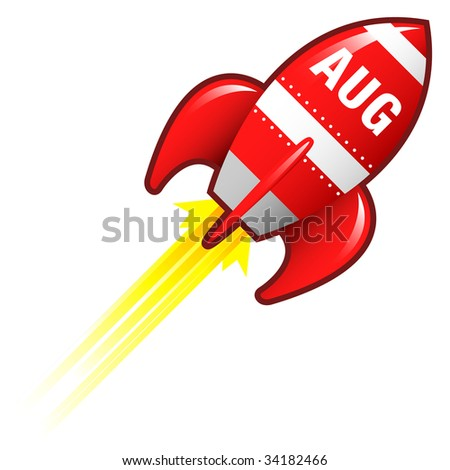 August month calendar icon on red retro rocket ship illustration good for use as a button, in print materials, or in advertisements.