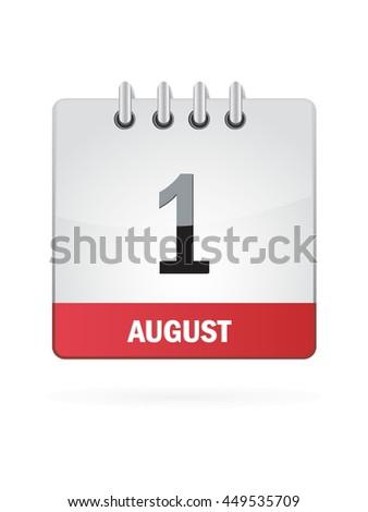 August One. Calendar Icon - stock vector