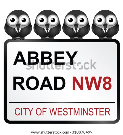 August 29, 2015: Representation of the Beatles perched on City of Westminster Abbey Road sign, Abbey Road being the title of their iconic album released in 1969 - stock vector