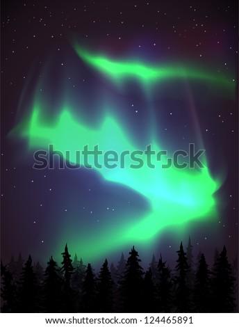 Aurora Borealis background - vector illustration. - stock vector