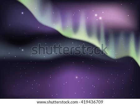 Aurora borealis background. Vector illustration - stock vector