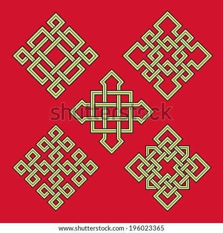 Auspicious knots - stock vector