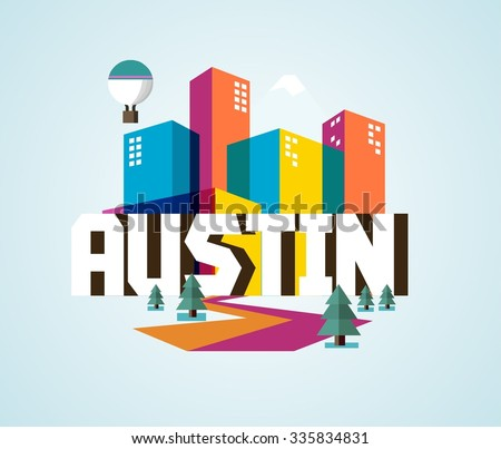 Austin in colorful poster design. - stock vector