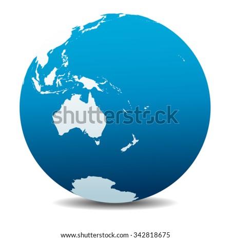 Australia and New Zealand, Global World - stock vector