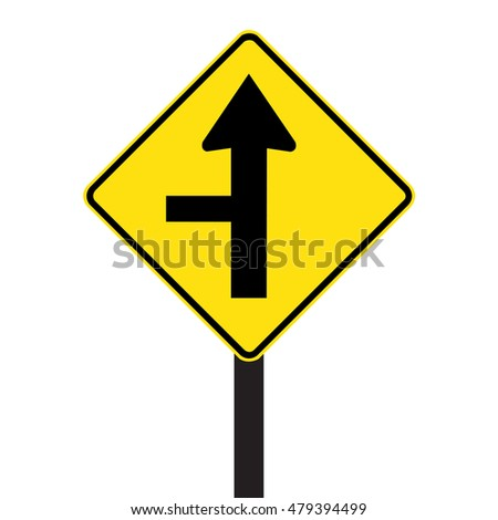 Australia and New Zealand road sign - Side road intersection on left sign