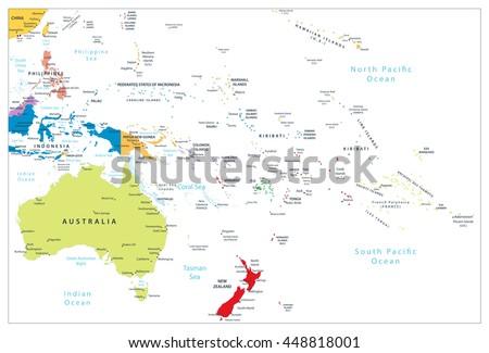 Australia Oceania Detailed Political Map All Stock Vector - Political map of oceania