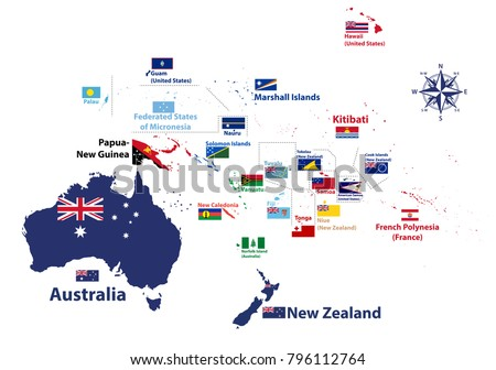 Australia oceania region vector high detailed vector de australia and oceania region vector high detailed map with countries names and national flags gumiabroncs Choice Image