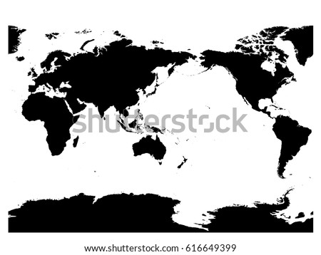 Simplified world map divided six continents vectores en stock australia and pacific ocean centered world map high detail black silhouette on white background gumiabroncs Gallery