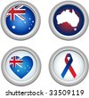 Australia Buttons with ribbon, heart, map and flag - stock photo