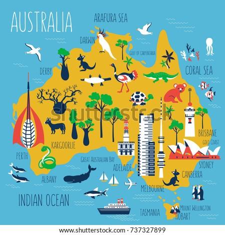 Map Of Australia With Landmarks.Australia Landmarks Map