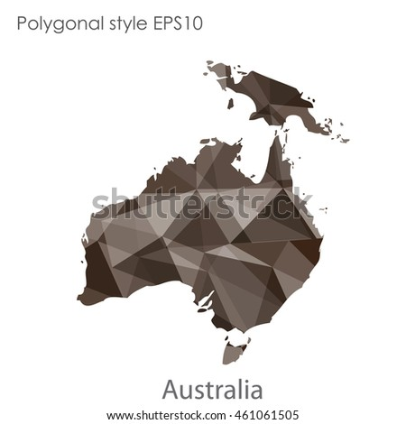Australia continent map in geometric polygonal style.Abstract triangle,modern design background.Vector illustration EPS10