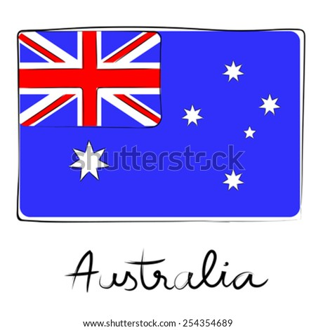 Australia country flag doodle with text isolated on white - stock vector