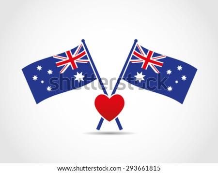 Australia Crossed Flags Emblem Love Heart - stock vector
