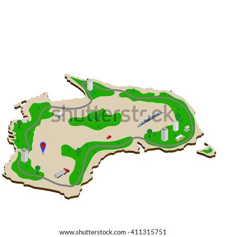 Australia 3d illustration. map of Australia. Isometric image of the continent of Australia. - stock vector